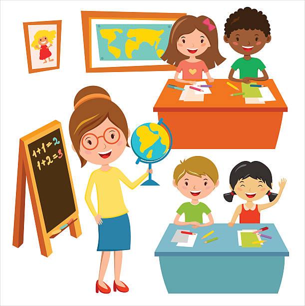 Elementary Classroom Clipart ~ Royalty free elementary school teacher clip art vector