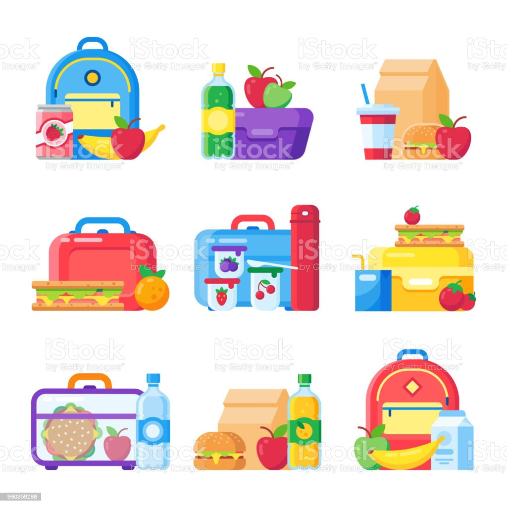 Caja de almuerzo de la escuela de los niños. Potache bolsa de comida para la cena. Manzana roja, conjunto de cenas de bocadillo de leche en vector plana de cajas de alimentos de niños - ilustración de arte vectorial