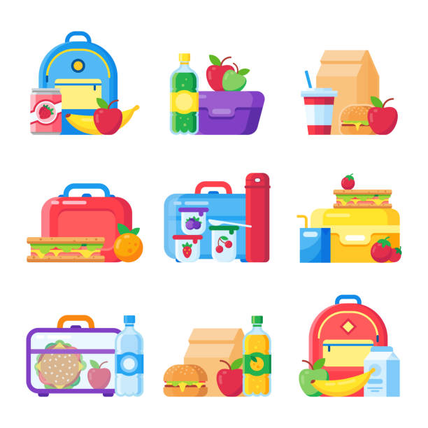 kids school lunch box. schoolkid meal bag for dinner. red apple, milk snack dinners in children food boxes flat vector set - lunch box stock illustrations, clip art, cartoons, & icons