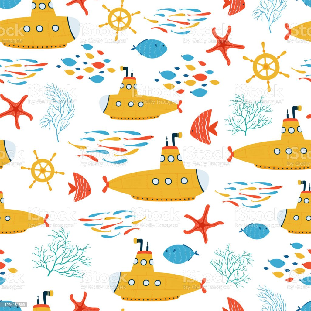 Kids Sea Seamless Pattern With Yellow Submarine Fish In Cartoon Style Cute Texture For Kids Room Wallpaper Textiles Wrapping Paper Apparel Vector Illustration Stock Illustration Download Image Now Istock