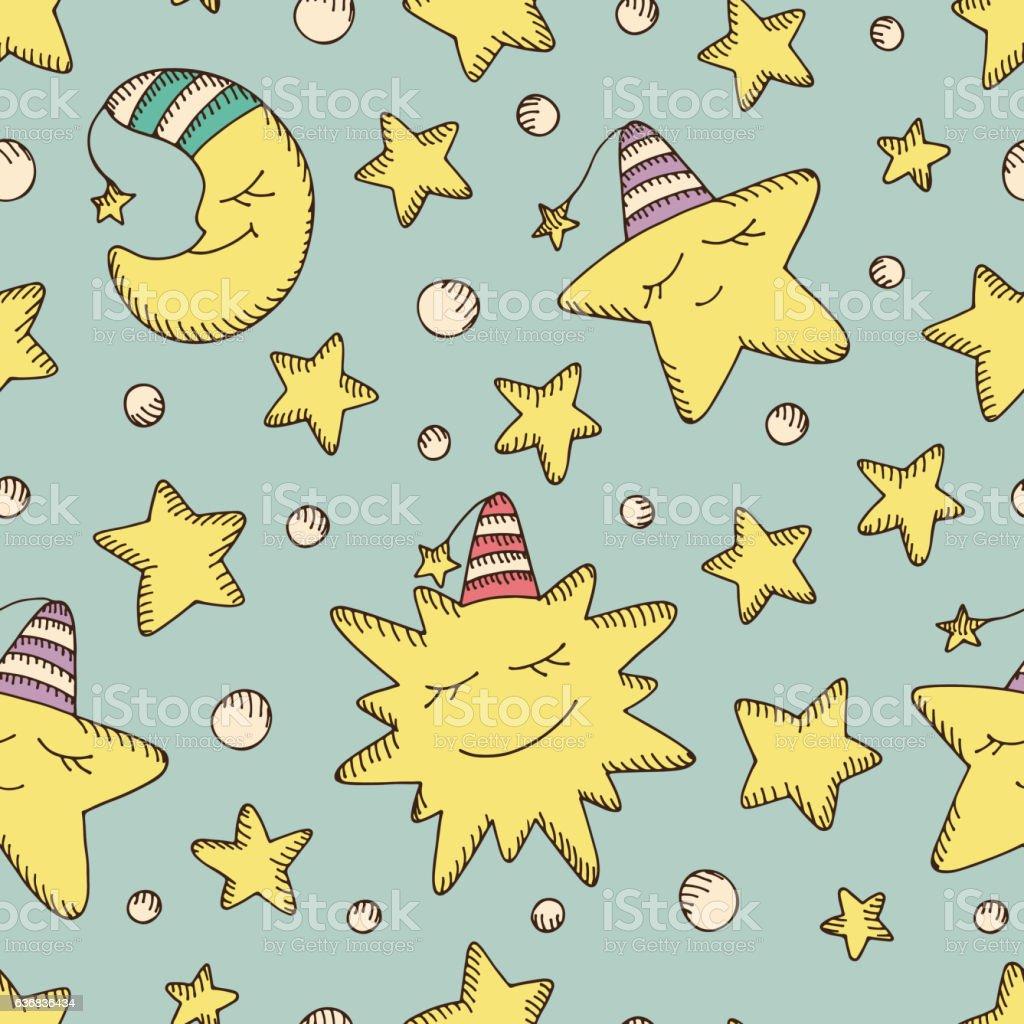 kids seamless pattern good night cartoon sun moon stars のイラスト