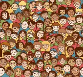 Hand drawn seamless pattern with cute faces of children from diverse cultural / ethnic backgrounds