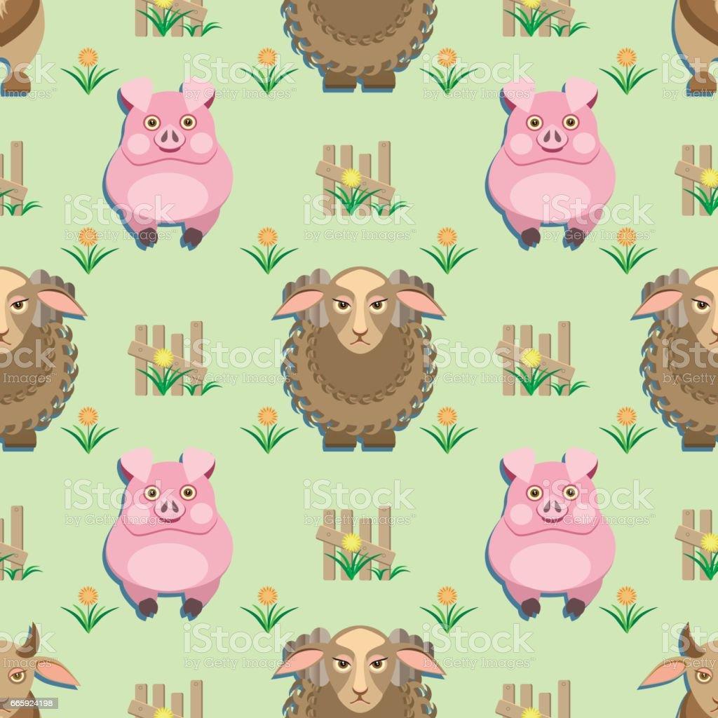 kids seamless pattern with animals from the farm kids seamless pattern with animals from the farm - immagini vettoriali stock e altre immagini di agnello - animale royalty-free