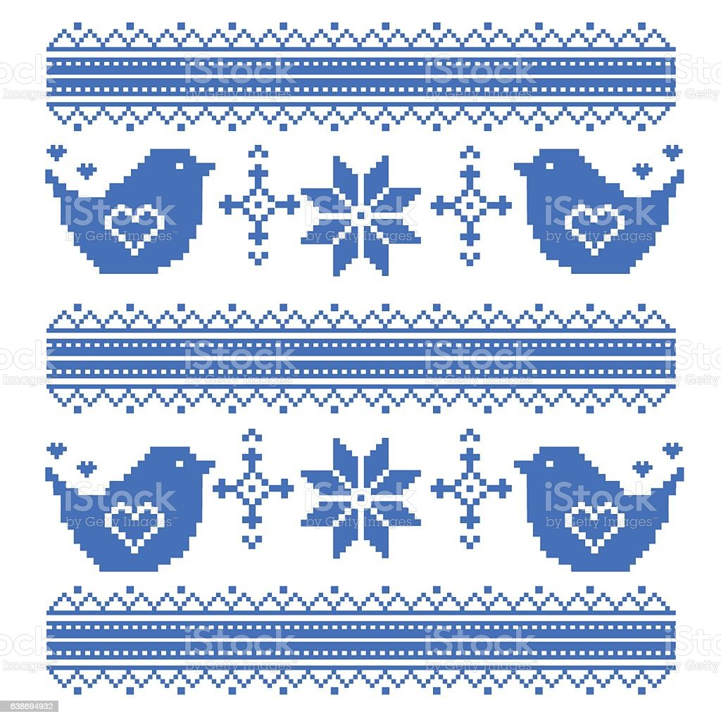 Kids Seamless Pixel Pattern In The Birds Cross Stitch Stock Vector ...