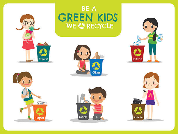 kids segregating trash recycling concept illustration - child throwing garbage stock illustrations, clip art, cartoons, & icons