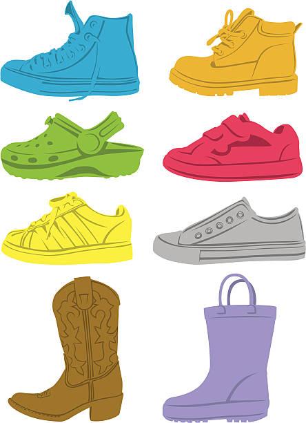 kid's shoes - crocodile stock illustrations
