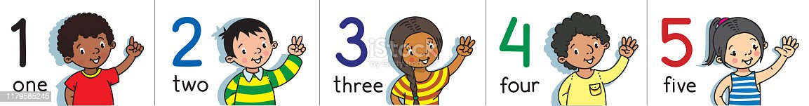 693519466 istock photo Kids showing numbers 1 to 5 by fingers. Counting education 1179585245