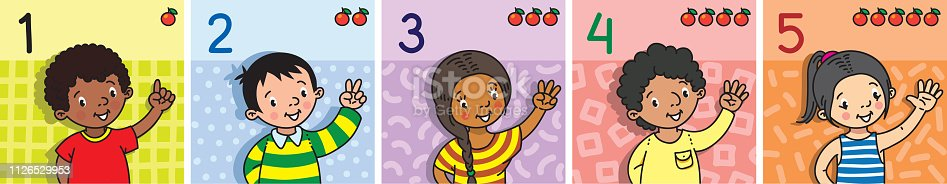 693519466 istock photo Kids showing numbers 1 to 5 by fingers. Education 1126529953