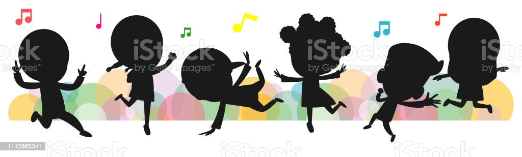 kids silhouettes dancing, Child dancing break dance. children...