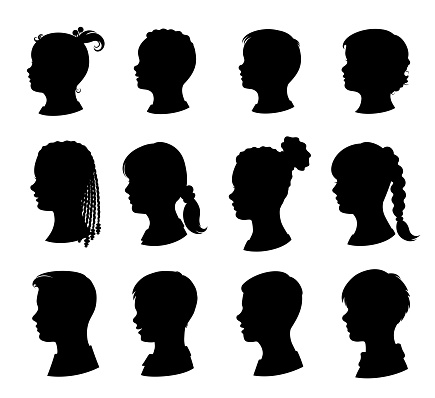 Kids silhouettes set. Isolated. Vector