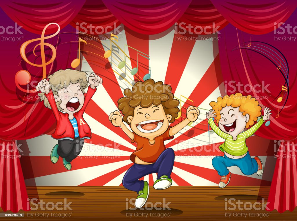 Kids singing at the stage royalty-free stock vector art