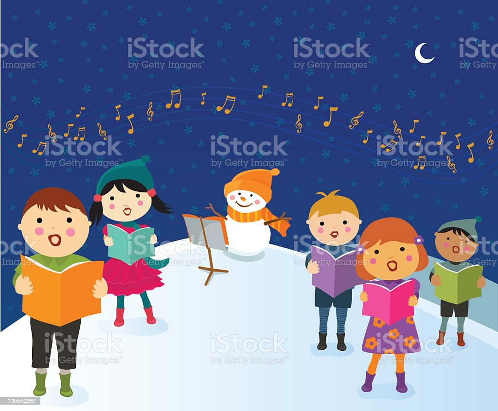 Kids Singing Christmas Carol vector art illustration