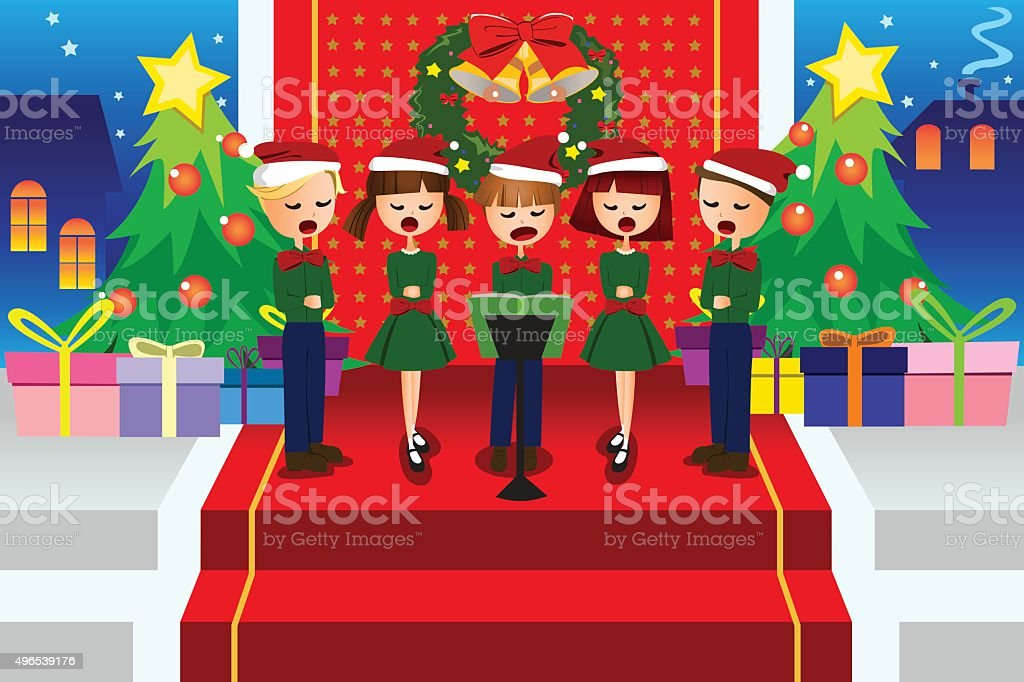 Kids singing Christmas Carols vector art illustration