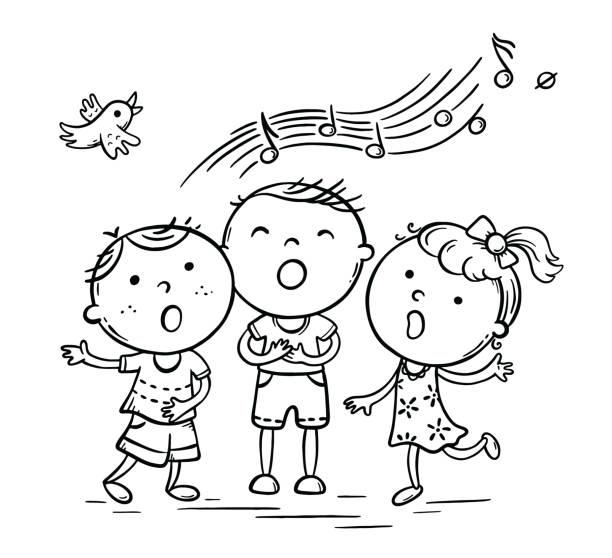Kids singing together, variant with cartoon hands vector art illustration