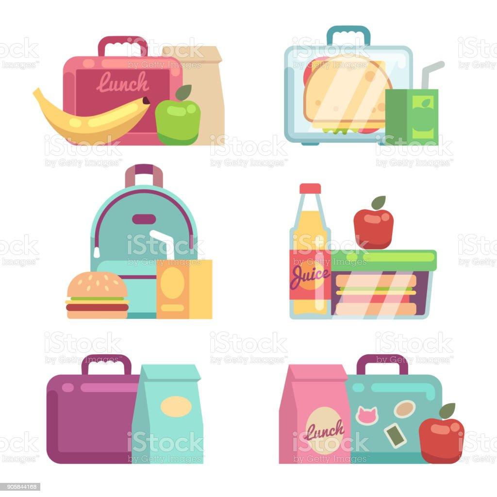 Kids snacks. School lunch boxes vector set