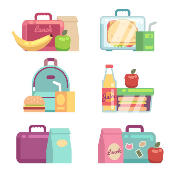 kids snacks. school lunch boxes vector set - lunch box stock illustrations, clip art, cartoons, & icons