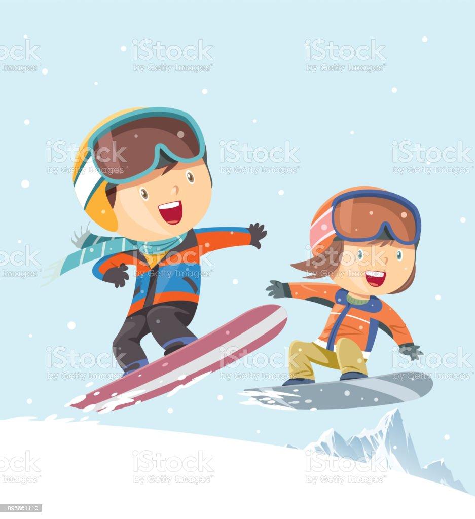 Kids snowboarding background vector art illustration