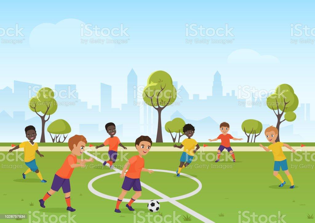 Ilustracion De Juego De Futbol De Los Ninos Chicos Jugando Futbol