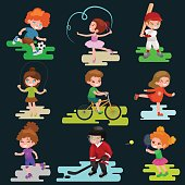 Kids sport, isolated boy and girl playing active games vector illustration