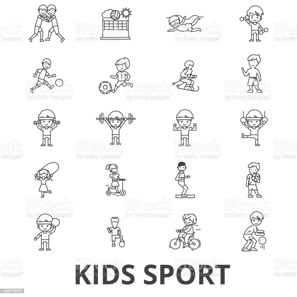 Kids sport, play, children sports, football, basketball, running, jumping, team line icons. Editable strokes. Flat design vector illustration symbol concept. Linear signs isolated vector art illustration