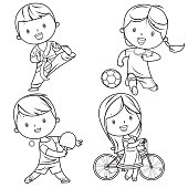 Vector kids sports characters drawing