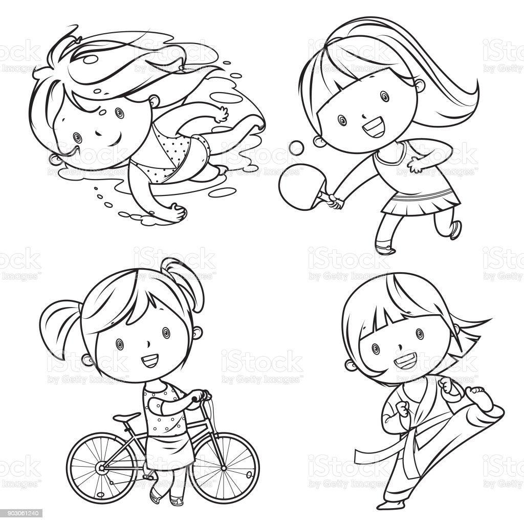 drawing sports characters vector ping istock pong illustrations female illustration clip istockphoto