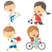 Vector kids sports characters