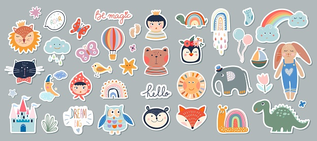 Kids stickers/badges collection with different cute elements