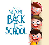 Kids student vector characters holding white board with blank space for text with welcome back to school written. Vector illustration
