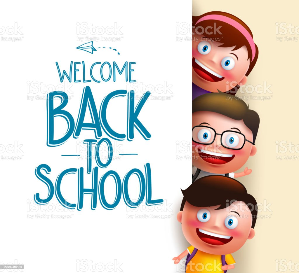 Kids student vector characters holding white board with blank space vector art illustration