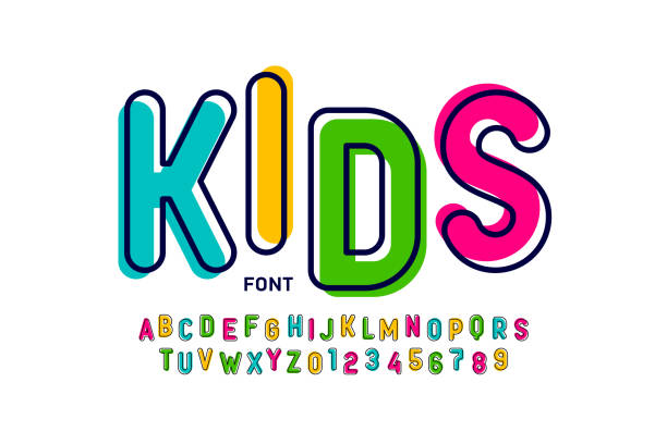 Kids style colorful font