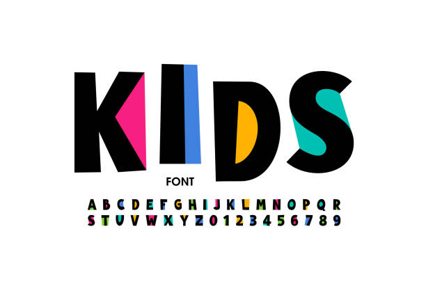 Kids style font Kids style font design, playful alphabet letters and numbers vector illustration funky stock illustrations