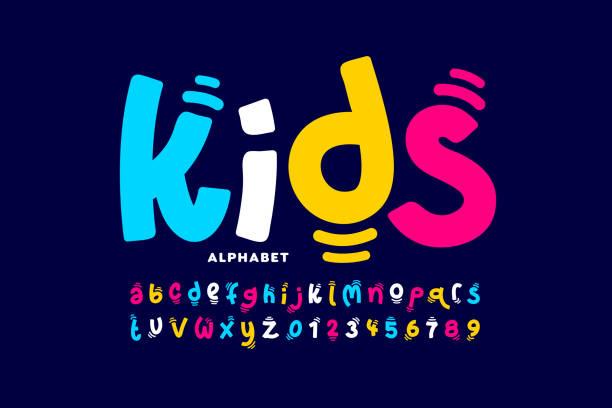 ilustraciones, imágenes clip art, dibujos animados e iconos de stock de fuente lúdica estilo kids - font