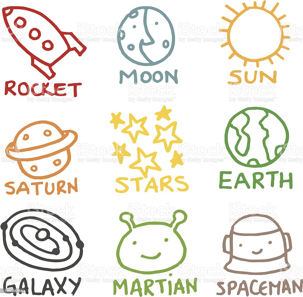 Kids style space related doodle icon set royalty-free kids style space related doodle icon set stock vector art & more images of alien