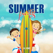 Enjoy the summer party at the beach, together with kids, surfboard, beach ball and inflatable ring