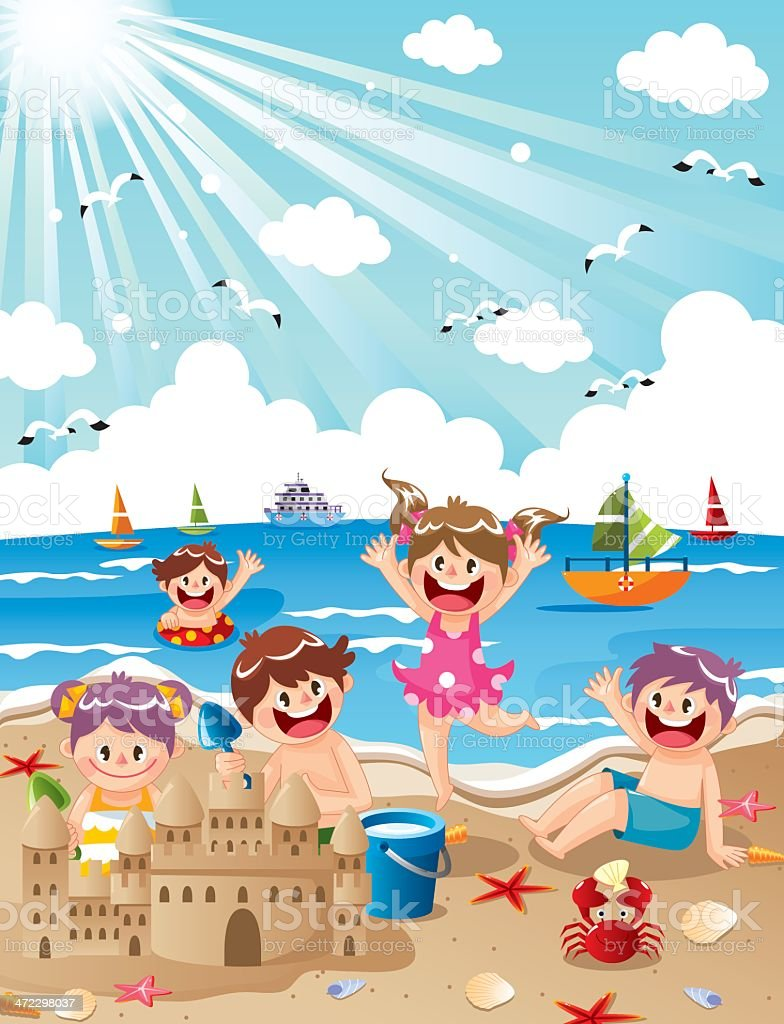 Kids Summer Beach vector art illustration