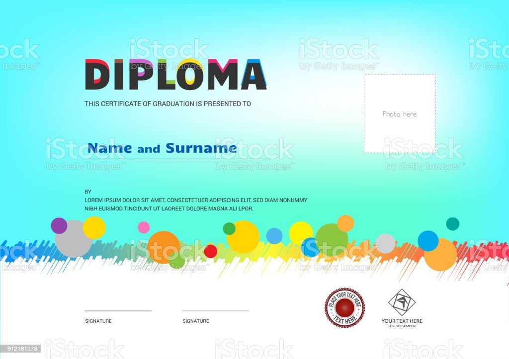Kids Summer Camp Diploma or certificate template award ribbon and photo affix space vector art illustration
