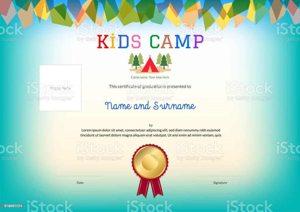 Kids summer camp diploma or certificate template award ribbon and kids summer camp diploma or certificate template award ribbon and photo affix space royalty free yelopaper Image collections
