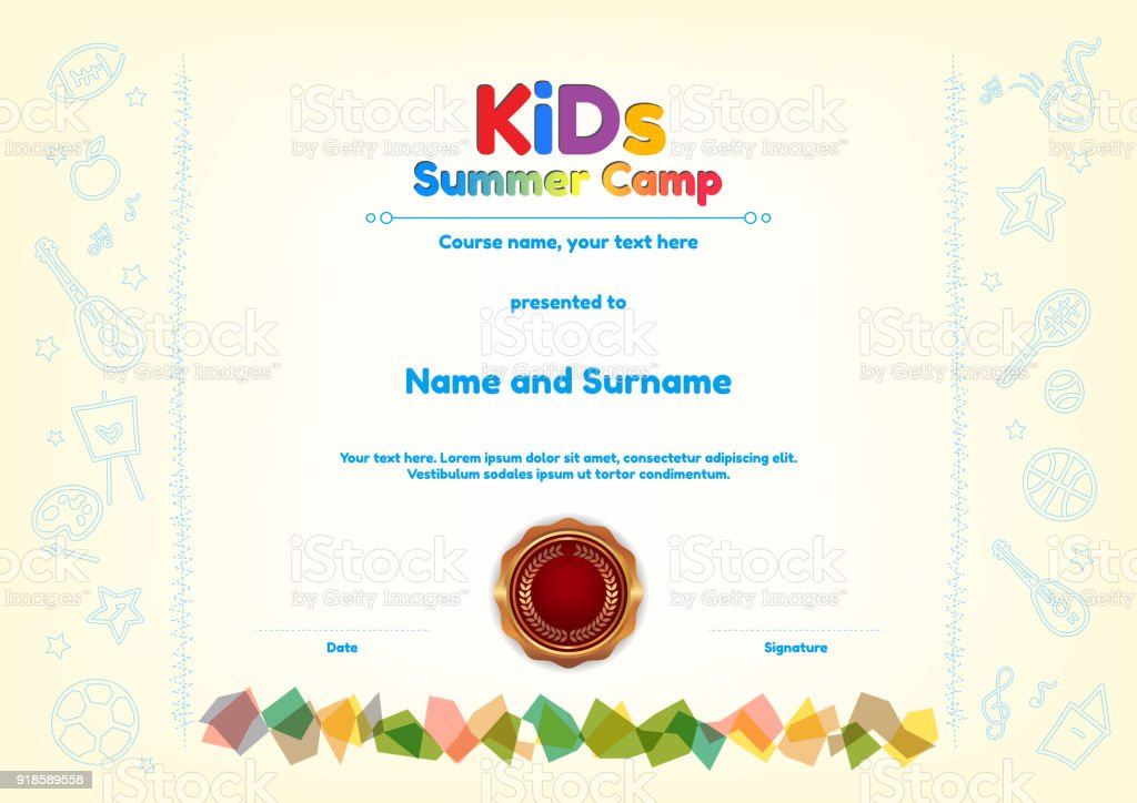 Kids Summer Camp Diploma Or Certificate Template Award Seal With Fun