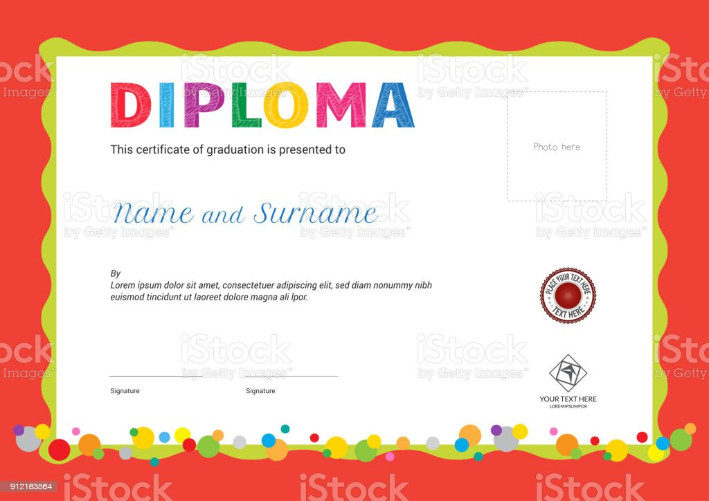 Kids Summer Camp Diploma Or Certificate Template With Photo And Seal
