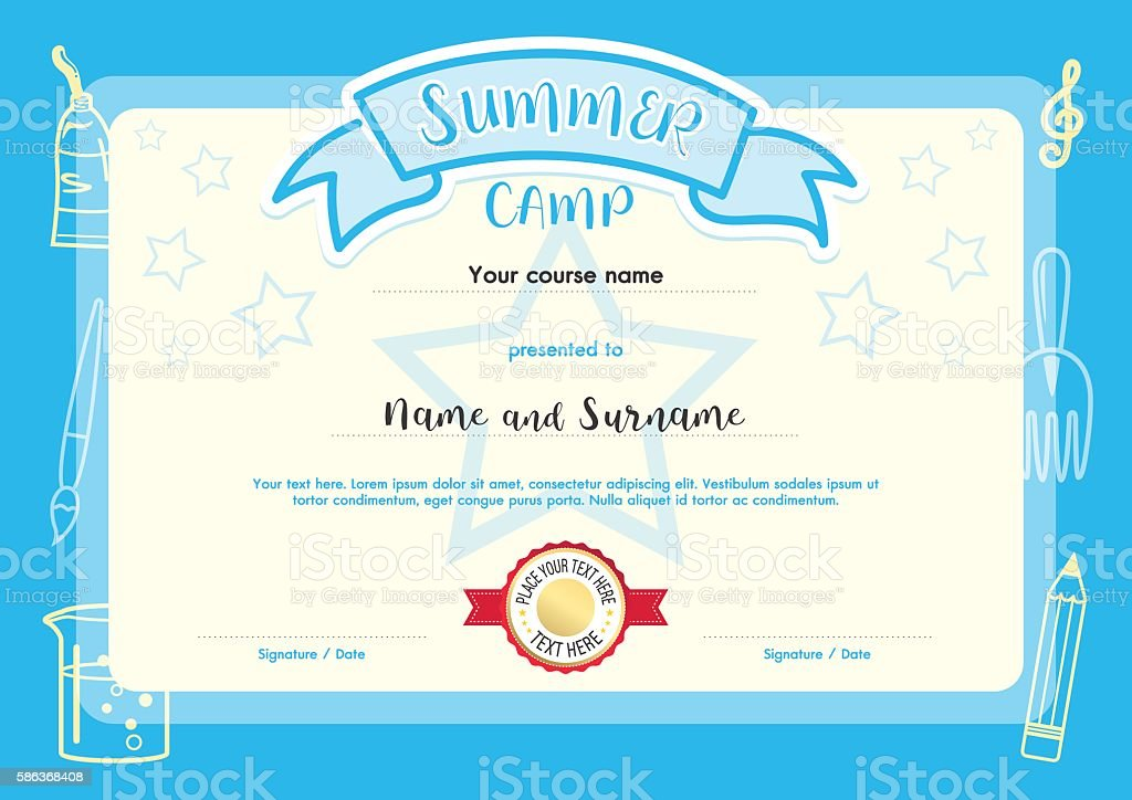 kids summer camp document certificate template stock