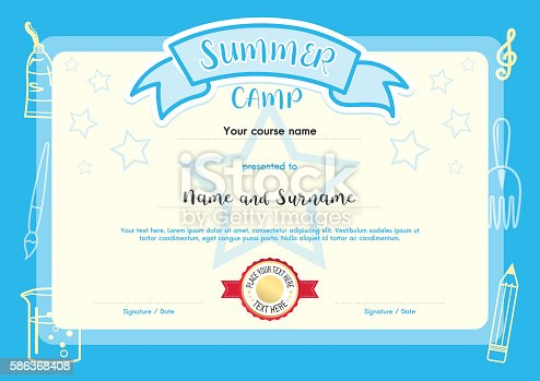 Kids summer camp document certificate template stock vector art kids summer camp document certificate template stock vector art more images of achievement 586368408 istock yelopaper Image collections