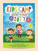 kids summer camp education poster flyer