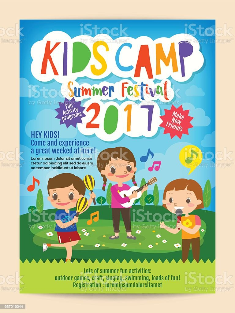 kids summer camp education poster flyer ベクターアートイラスト