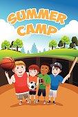 A vector illustration of kids summer camp flyer