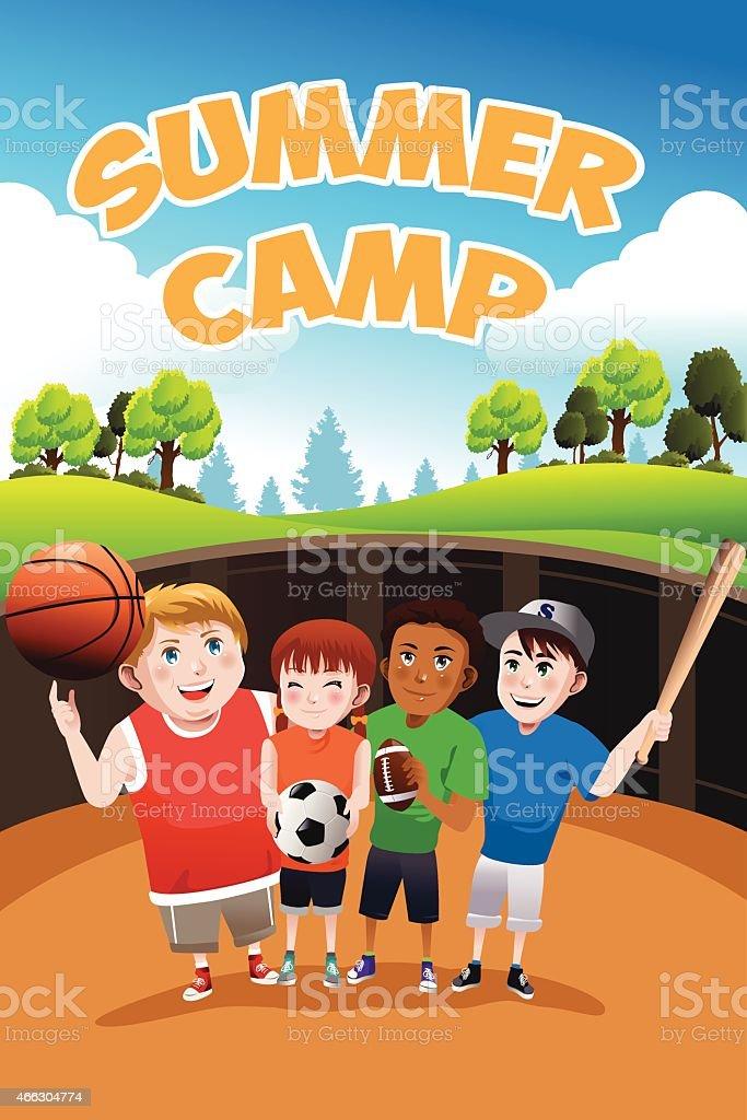Kids summer camp flyer vector art illustration