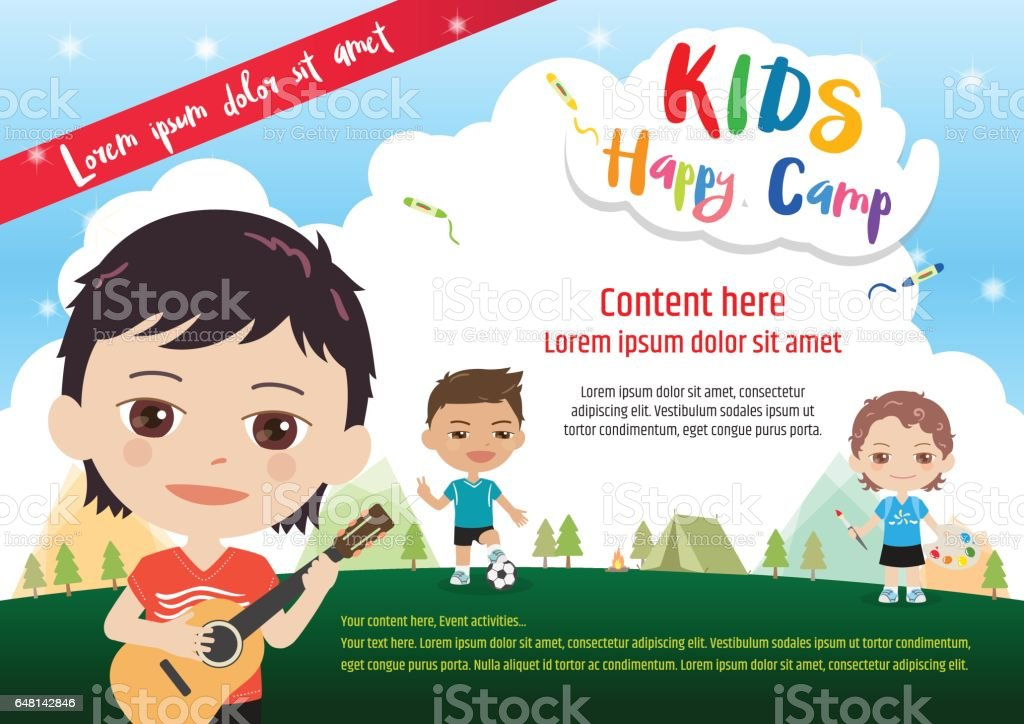 Kids summer camp poster or banner template in cartoon style vector art illustration