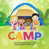 Join the summer camp with 4 kids lying on the grassland in front of a camp