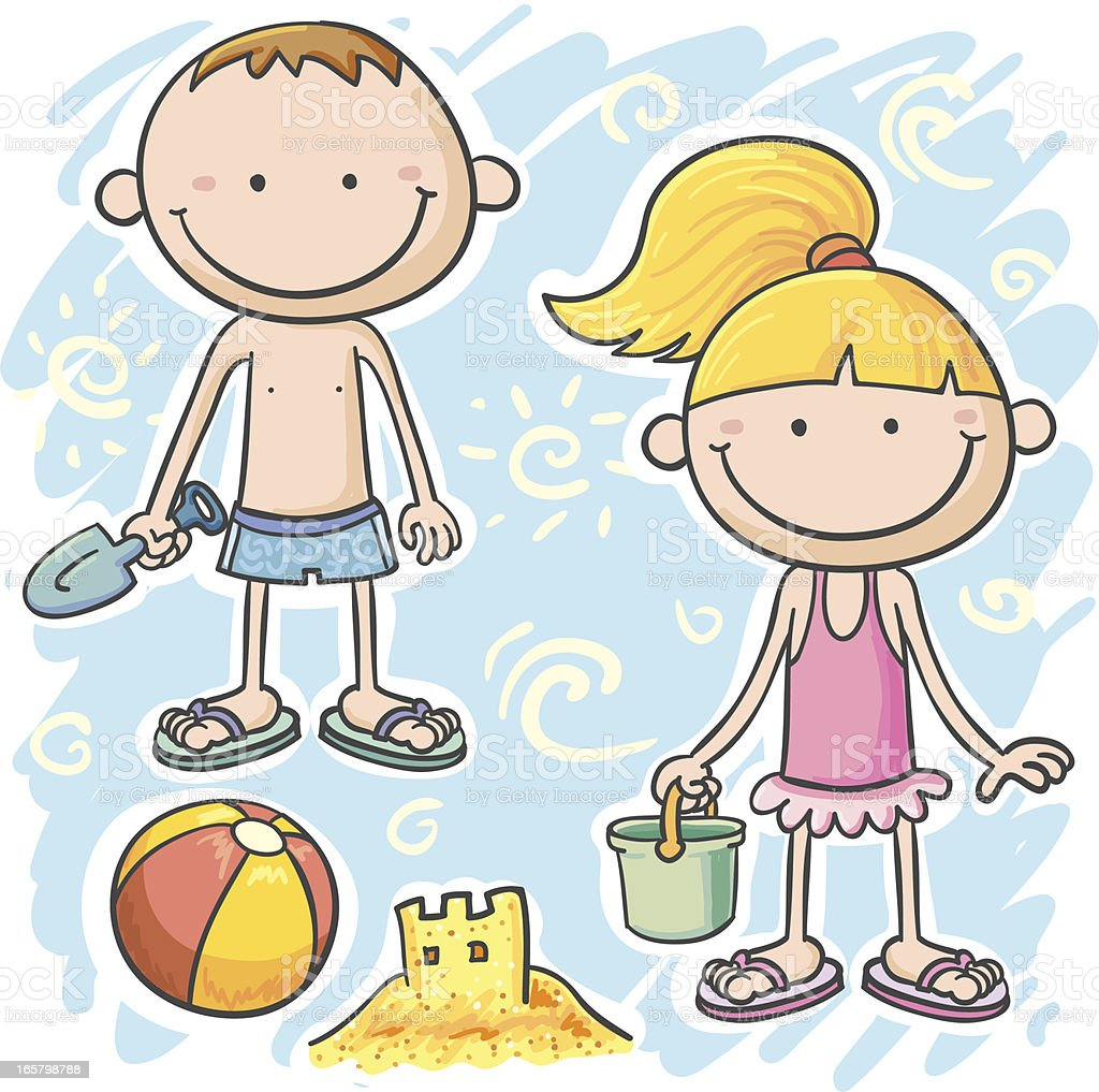 Kids' summer fun on the beach royalty-free stock vector art