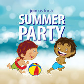 Enjoy the summer party with kids running and playing beach ball at the beach